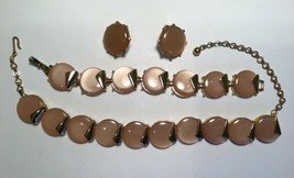 Charel Thermoset Necklace Bracelet Earrings Parure Set Pearlescent Salmon Pink - $25.55