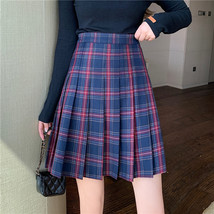 Knee Length Pleated Plaid Skirt Women Plus Size Navy Black Pleated PLAID SKIRTS image 11