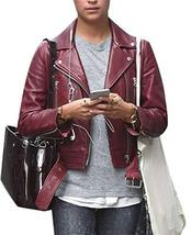 Jason Bourne Heather Lee Alicia Vikander Maroon Leather Jacket - $117.00