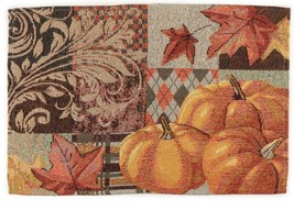 "Set Of 4 Tapestry Placemats, 13"" X 19"", Pumpkins & Leaves, Harvest, Fall - $19.79"