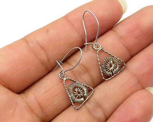Primary image for 925 Sterling Silver - Vintage Triangular Wire Coil Accent Earrings - E2844