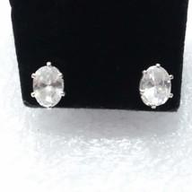 Avon crystal stud earrings H36 Oval cut clear CZ stones  - $7.87