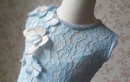Light Blue Lace Flower Girl Dress Short Pencil Blue Birthday Party Dresses NWT image 6