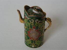 Vintage Mini Cloisonne Enamel Green tea pot - $23.70