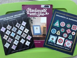 Hardanger Embroidery Christmas Pattern Book + Holiday Pillow Ornaments A... - $37.62