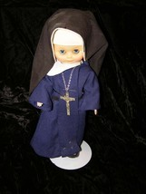 "Nun Doll 13"" With Rosary Plastic With Cloth Clothing Probably 1980s Slee... - $25.00"