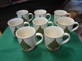"""Outstanding MOUNT CLEMENS Pottery""""Christmas"""" Theme-  8 COFFEE MUGS - $56.02"""
