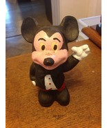 Vintage Cast Iron Left Hand Up Mickey Mouse Bank black bow tie - $13.86