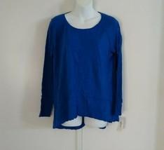 Style & Co Women Long Sleeve Scoop Neck Seam Tee Sea Captain Blue High-L... - $25.04