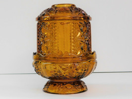 Amber Fairy Lamp Stars And Bars Indiana Glass Vintage - $42.06