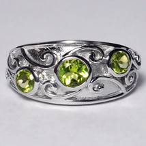 Natural Peridot Vintage 3 Stone Silver Ring Womens August Birthstone Bez... - $69.00