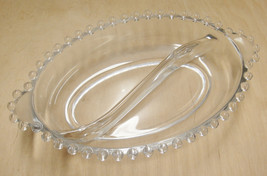 Candlewick Divided Oval Relish Dish w Lugged Handles 6.5 x 4.5 Beaded Edge  - $13.06