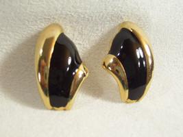 BLACK Enamel Gold Plated Pierced Earrings FAN Design Huggie Classic Vintage - $13.85