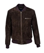 """New Brown Classic Retro Bomber Men's 70""""s Fashion Real Soft Suede Leather Jacket - $152.46"""