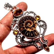 "Ammonite Fossil Natural Gemstone Handmade Ethnic Jewelry Pendant 3.74"" JH - $15.80"