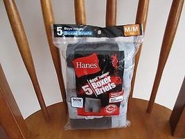 BNIP Hanes 100% cotton 5pk boys boxer briefs, M(10-12), solid greys/blacks - $17.30