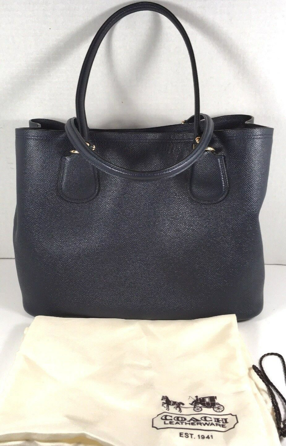 Coach Kitt Carryall Tote Navy Blue Crossgrain Leather Gold Tone HW with Dustbag image 2