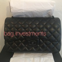 Auth Chanel SO BLACK Jumbo Double Flap Bag Black On Black Lambskin Very RARE - $8,707.05