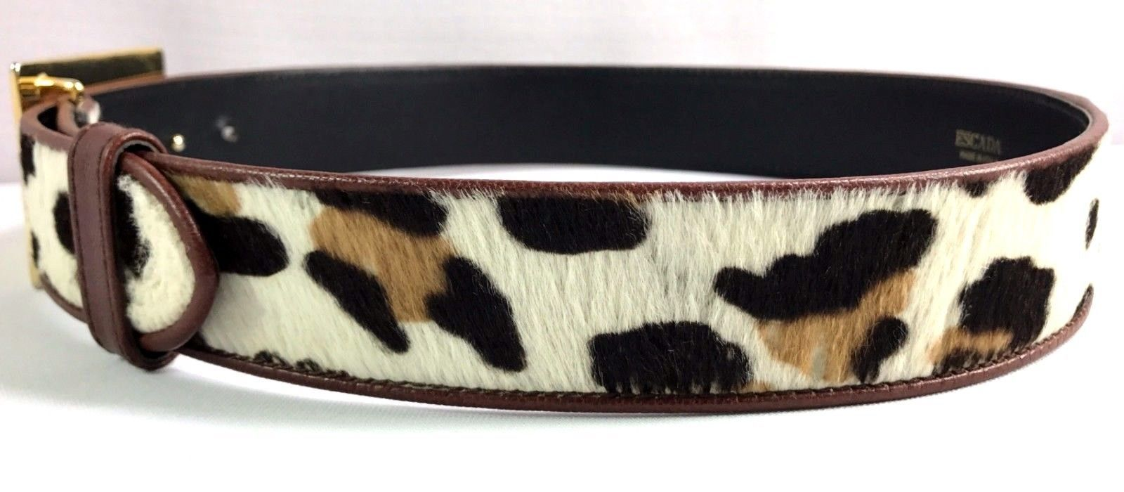 Women's Escada Animal Print Leather Belt Made in Italy Size 40