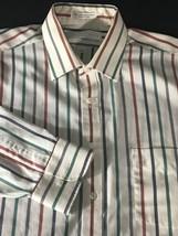 Men's Long Sleeve Casual Dress Shirt Size 17 32 33 Geoffrey Beene White ... - $8.90