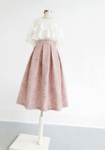 Pink Winter Tweed Skirt A-line High Waisted Pink Midi Tweed Skirt image 2