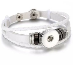 Triple Strand Black Braided White Leather Snap Button Charm Bracelet ~ New - $10.39