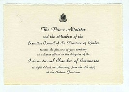 1949 International Chamber Commerce Invitations Quebec Chateau  Frontenac - $34.61