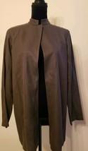 100% Silk Eileen Fisher Open Blazer Jacket S Taupe Top-Button Mandarin C... - $55.00