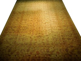 New Vintage Look Perfect Chobi Hand-Knotted 12x18 Beige Oushak Wool Rug image 1