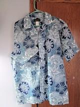 MEN'S ISLAND ALOHA WEAR HAWAIIAN SHIRT  BlueFloral XL made in Hawaii - $22.05