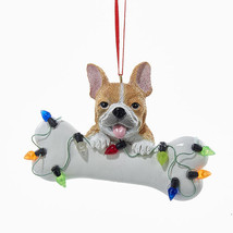 French Bulldog w/Bone & Lights Ornament - $12.95