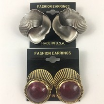 Vintage Modernist Style Pierced Earrings Lot Silver Tone Burgundy Enamel... - $9.84