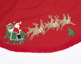 "Vtg Large 75"" Christmas Tree Skirt Hand Made Felt Applique Sequins Santa... - $59.95"