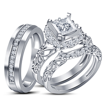 Princess Cut White Cz Trio Ring Set 14K White Gold FN 925 Silver & Free Shipping - $178.99