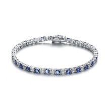 Sterling Silver Sapphire Blue And Clear Cubic Zirconia Tennis Bracelet - $139.99