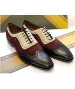 Handmade Men Three Tone Designer Wingtip Formal Shoes, Men Leather Dress... - $169.99