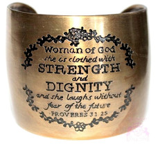 Woman of God Proverbs 31 Laugh Strength Dignity Antique Gold Tone Cuff Bracelet - $24.95