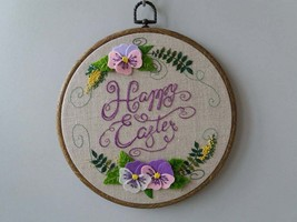 Embroidery hoop art Happy Easter gift Floral embroidery wall art Felt Pa... - $52.00