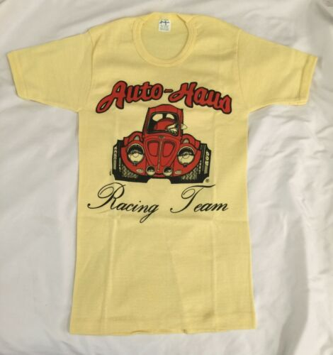 NOS Vintage Women's Yellow Shirt Size Medium Auto-Haus Racing Team Sportique USA