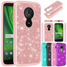 For Motorola Moto G6 Play Case Glitter Bling Hybrid Armor Shockproof Pho... - $8.00