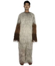 Furry Dog Collection | Men's White and Brown Spiked Furry Dog Cosplay Costume wi - $122.85