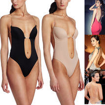 Deep Plunge Convert Clear Strap Ultra Low Backless Push Up Bra Thong Body Shaper - $21.99