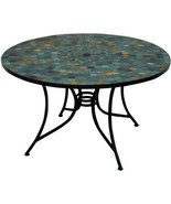 Patio Dining Table 51 in. Round Slate Tile Top Umbrella Hole Steel Frame - $668.77