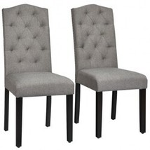 Set of 2 Tufted Upholstered Dining Chair-Gray - Color: Gray - $225.42
