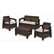 Keter Corfu 4 Piece Set All Weather Outdoor Patio Garden Furniture w/ Cu... - €378,14 EUR
