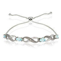 Sterling Silver Created White Opal Figure 8 Infinity Adjustable Bolo Bra... - $128.58 CAD