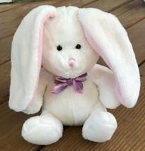 Hallmark White Bunny Rabbit Pink Purple Plaid Bow VF4187 Easter Plush Fl... - $11.87