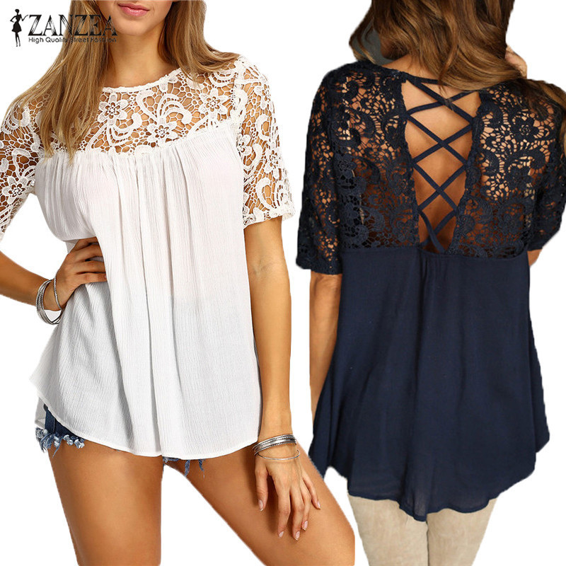 2018 zanzea women tops lace splice blouses shirt elegant o neck short sleeve hollow out casual