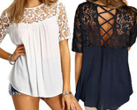 Women tops lace splice blouses shirt elegant o neck short sleeve hollow out casual thumb155 crop