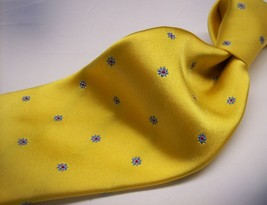"""63""""  HOLLAND & SHERRY  Yellow/Blue FLOWER  Mens 100  SILK Necktie 0 217 - $19.99"""